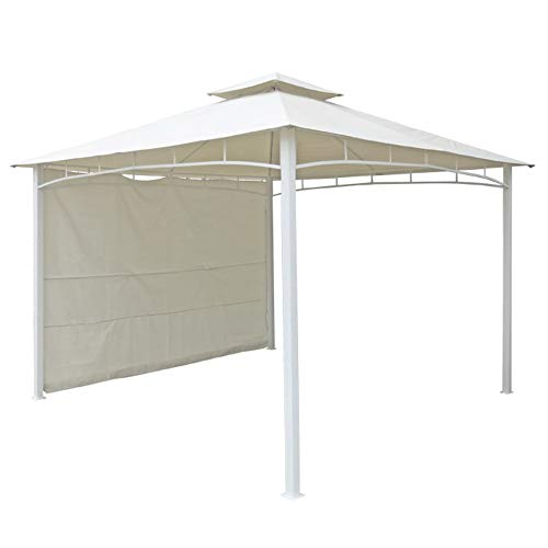 VERDELOOK Gazebo Antigua con pratico tendalino laterale, 3.3x3.3 m, telo bianco e struttura in metallo verniciato grigio