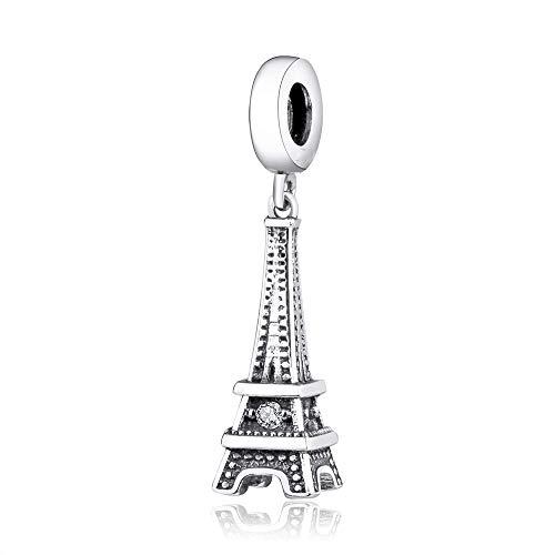 Pandora 925 Charm Originals Pulsera Cuelga Plata Moda Torre Eiffel Retro Cuentas Colgante Para Mujer Diy Joyería