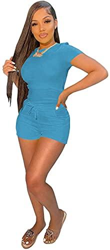High Waist Biker Shorts Cute Crop Tops 2 Piece Outfits for Women