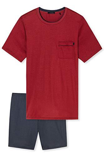 Schiesser Herren V-Ausschnitt Zweiteiliger Schlafanzug, Rot (dunkelrot), 52