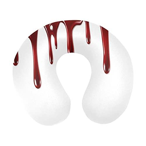 Bloody Hand Print Horror Decoración de Halloween Almohada de viaje para el cuello Almohada de espuma viscoelástica para el cuello para aviones domésticos y coche Soporte suave para la barbilla - Cómod