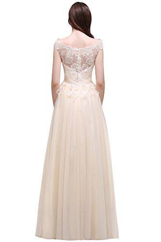 MisShow Damen Ballkleider lang Prinzessin Damen Tüll Abendkleid Abiballkleid Brautmutterkleider Maxilang Champagner 38