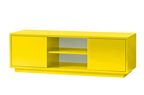 K-Möbel TV Schrank Gelb Dekor Lowboard Fernsehschrank 2 Fächer 2 Türen