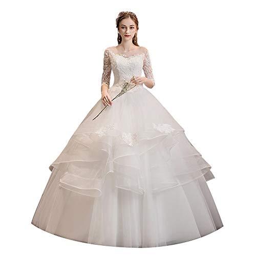 Yaunli Brautkleid, Slim Fit, schmal, Übergröße, schlicht, Brautkleid, Brautkleid, Tutu-Kordel, Hochzeitskleid (Farbe: Weiß, Größe: S)