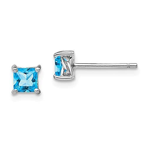Sterling Silber 4mm Prinzessin Swiss Blau Topas Post Ohrringe