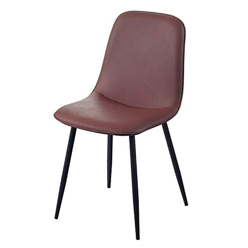 Dining Chairs Soft Faux Leather Reception Chairs with Backrest Upholstered Seat Black Metal Legs Counter Lounge Living Room Corner Chair (Color : Maroon)