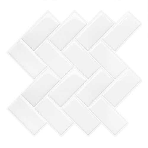 MORCART 12 adhesivos para azulejos, lámina autoadhesiva en 3D, decoración para azulejos, cenefa, azulejos de mosaico, resistente al agua, para cocina o baño, 12 x 12 pulgadas (estilo 03)