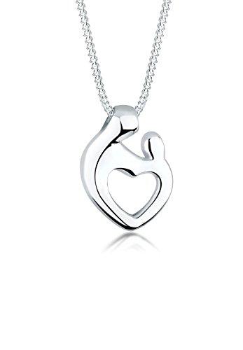Elli Halskette Damen Mutter Kind Herz Verbundenheit in 925 Sterling Silber