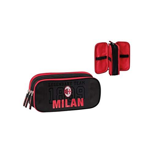 Panini AC Milan Astuccio Scuola ORGANIZZATO 3 Zip - Colore - Nero, Misure - Uni