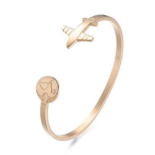 Sadingo Damen Armband Weltkugel - schmaler Edelstahl Armreif Flugzeug & Erde, Travel The World, Geschenk Geburtstag, Farbe:Gold