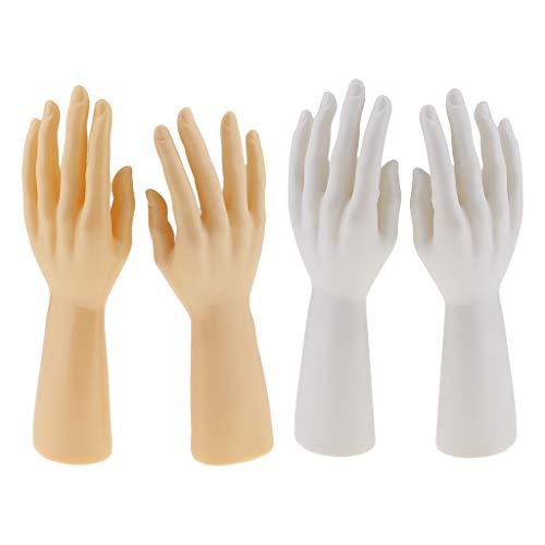 Generic - 2 pares de manos de maniquí para hombre para los guantes de pulsera de joyas que muestran el color de la piel