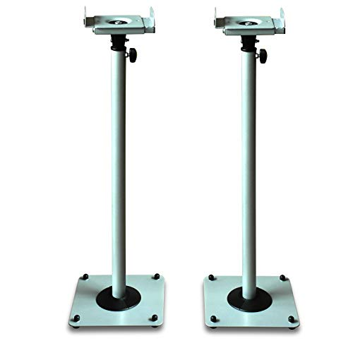 DRALL INSTRUMENTS 2 Stück Boxenständer aus Metall Lautsprecherständer Box Lautsprecher höhenverstellbar mit Kabelkanal Silber-Metallic Ständer Modell: BS16Sx2