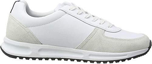 Tommy Hilfiger Modern Corporate Leather Runner, Zapatillas para Hombre, Blanco (White Ybs), 42 EU