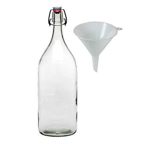 Viva-Haushaltswaren Gabriele Hesse e.K. 1 XXL Glasflasche mit Bügelverschluss für 2 Liter zum selbst befüllen inkl. Trichter