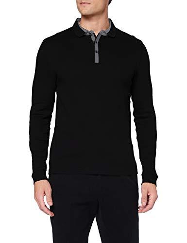 Pierre Cardin Herren Longsleeve Interlock Structure Polo-Pullover, Black, S