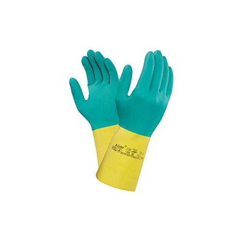 Ansell 87–900/S 87–900 Bicolore en latex/néoprène de Mottrott, 1 paire, taille 7/Small, Vert/jaune