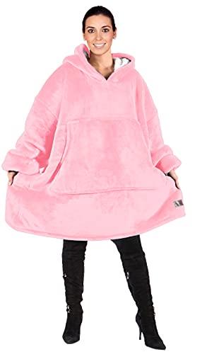 Kato Tirrinia Übergroße Sherpa Hoodie Sweatshirt Decke, Weiche Warme Riesen Hoodie Fronttasche Giant Plüsch Pullover Decke mit Kapuze for Erwachsene Männer Frauen Teenager-Studenten, Rosa