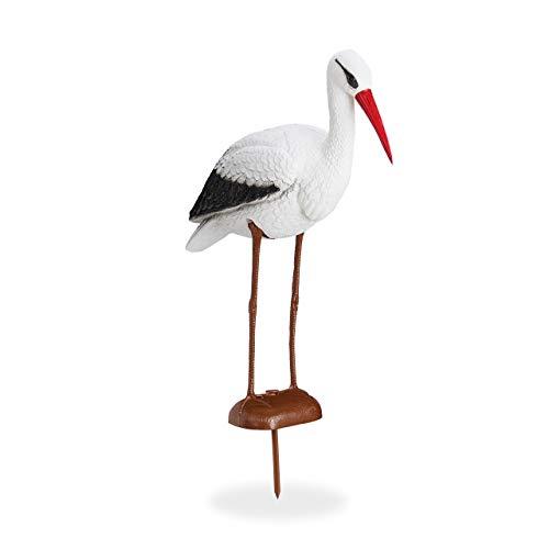Relaxdays Gartenfigur Storch, Garten Dekofigur, Fischreiher Schutz, Klapperstorch Geburt, HBT 80 x 22 x 64 cm, weiß/rot