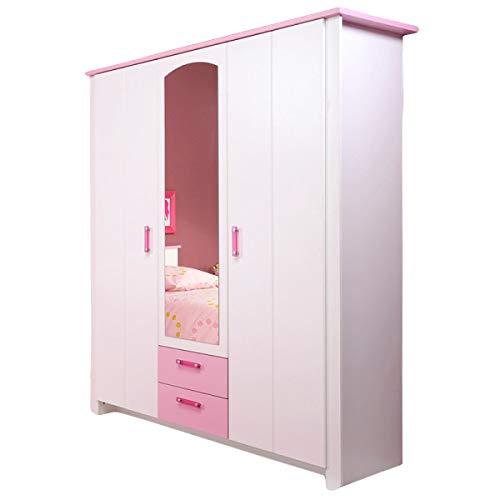 Kleiderschrank Biotiful 3 Türen B 136 cm weiß rosa Kinderzimmer Jugendzimmer Mädchenschrank Drehtürenschrank Wäscheschrank Spiegelschrank
