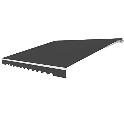Costway Store Banne de Balcon Rétractable avec Tissu Résistant aux UV et à l'eau, Cadre en Aluminium Angle Réglable 5-35° (3,6 x 3 m, Gris)