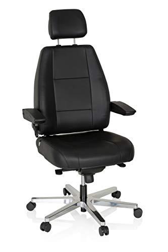 HJH Office, 6060901, werkstoel, 24 uur, leer, zwart, robuust, 24 uur, bureaustoel, tot 150 kg belastbaar