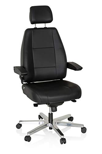 hjh OFFICE 608901 Arbeitsstuhl 24 Hours Leder Schwarz robuster 24 Stunden Bürostuhl bis 150kg belastbar