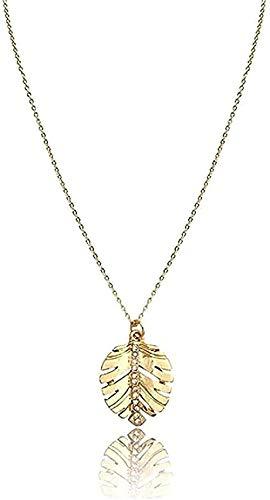 ZHIFUBA Co.,Ltd Collar de Moda Collar con Colgante de Hoja Brillante Collar Corto de Hoja pequeña de Color Dorado con Colgante Decorado con Piedra de Cristal Transparente para niña y mamá