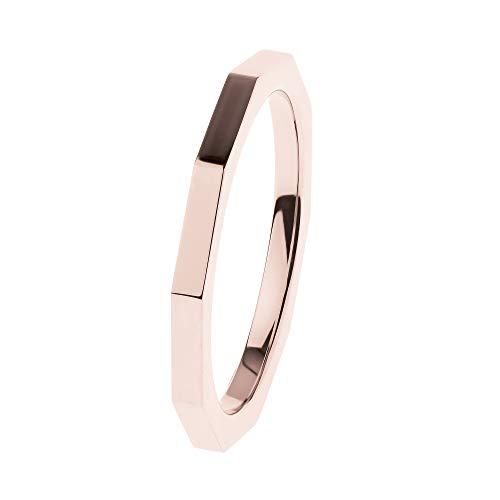Ernstes Design Anillo R586 Evia de acero inoxidable pulido rojo chapado en oro 2 mm anillo para mujer