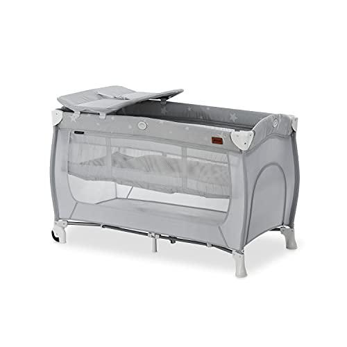 Hauck Lettino da viaggio combinato Sleep N Play Center, per neonati e bambini dalla nascita fino a 15 kg, 120 x 60 cm, 2 altezze, con fasciatoio, borsa per il trasporto, rotelle, stelle grigie