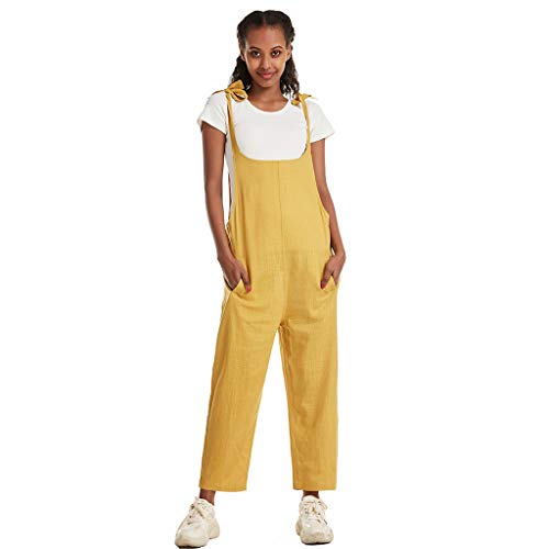 Read About Toimothcn Romper Plus Size Womens Cotton Hemp Overalls Solid Color Bandage Overalls Casua...