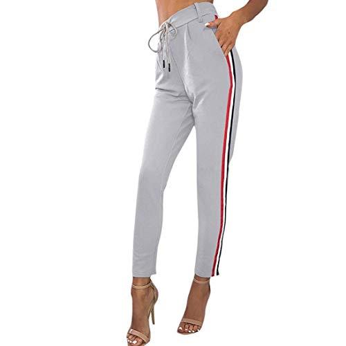 Pantaloni da Donna Estate Donna Jeans Lhwy Moda Semplice Glamorous Casual A Righe Pantaloni Sport Outdoor Slim Elastico Vita Alta Ol Casual Pantaloni con Coulisse Elegante Streetwear