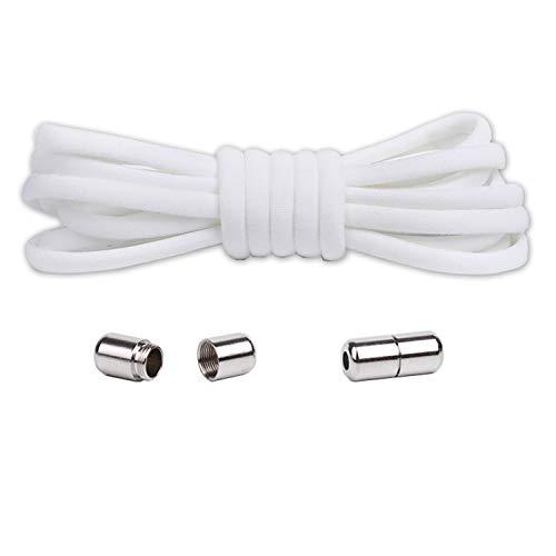 DOXUNGOO Elastische Schnürsenkel mit Metallverschluss- Komfort ohne binden Schnellverschluss,Schnürsenkel-Set für alle Schuhe (2 pairs Weiß-silbe)