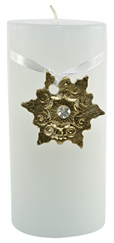 Magic Candle World Candles Lotus Candela con dipinto a mano, cristallo, bianco, 7.5 x 7.5 x 15 cm