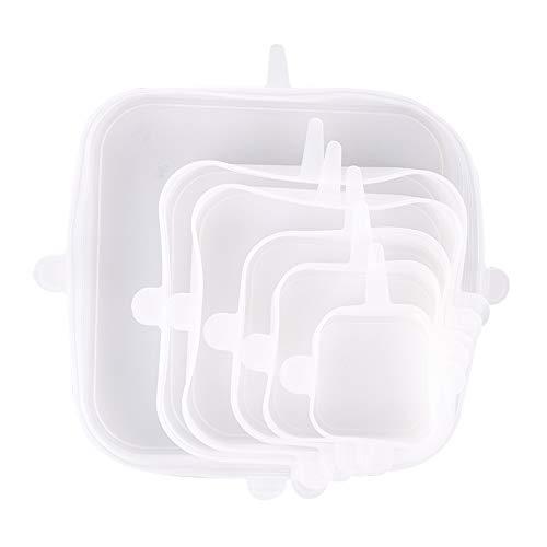 SODIAL Couvercles en Silicone RéUtilisables 6PièCes, Couvercles CarréS pour Remplacement Alimentaire Enveloppant Couvercles RéCipient, Utilisation S?Re pour Lave-Vaisselle à -Ondes