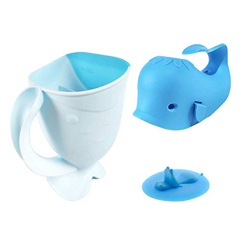 ALIBEBE Bath Cup Set Faucet Cover Whale Bath Spout Cover with Shampoo Rinse Cup and Bathtub Plug for Kids Bath, Blue