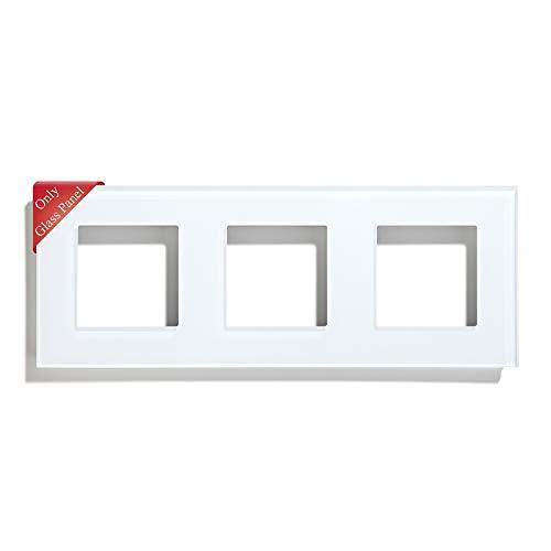 BSEED Rahmen Glasrahmen Panel für Lichtschalter und Steckdose Kristall Glasscheibe für Wandlichtschalter und Steckdosen Weiß 228mm