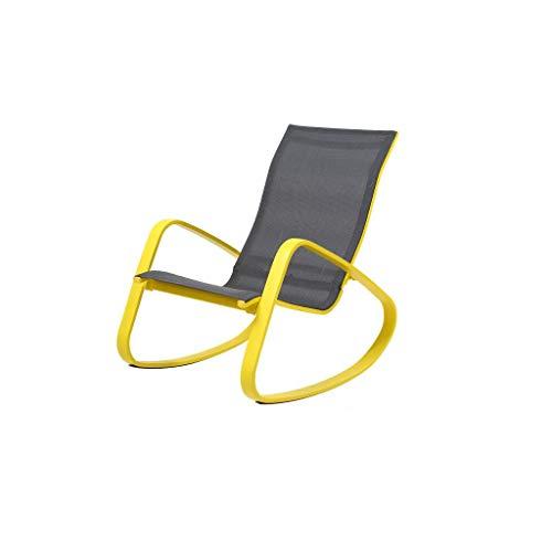 LYQZ Chaise paresseuse à Bascule Adulte Balcon inclinable Chaise Longue paresseuse Siesta Design humanisé (Couleur : Le Jaune)
