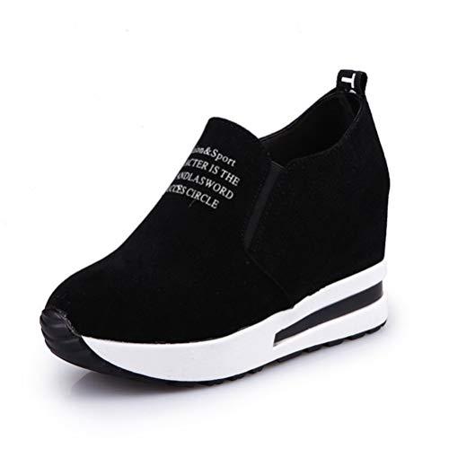 Dames Hoogte Verhogende Trainers Instappers Plateau Wedges Toning Loafers Suède Ademende Lage Casual Schoenen Zwart/Rood Wedge Chunky Sneakers