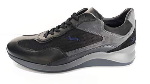 Sneaker Uomo Harmont&Blaine in Pelle Nero Modello Dragon EFM192060 Scarpa Invernale in Pelle e Tessuto Collezione Autunno Inverno 2019 2020. EU 40