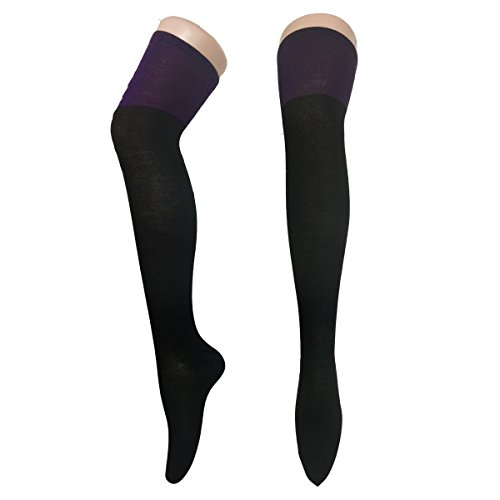 Double Colored Solid Opaque Thigh High Sock Over Knee Socks Soft Stockings Stocking (Black & purple)