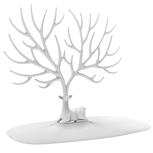 FABSELLER Jewellery Display Stand Holder Tree Shape Earring Necklace Bracelets Jewelry Storage Holders Hanging Organizer Rack, White