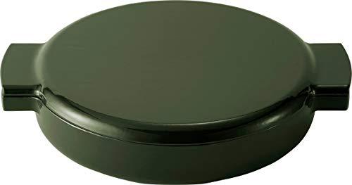 Ovject キャンプ アウトドア 日本製 両手鍋 ホーロー 鋳物 浅型 23cm 1.6L ダッチオーブン 薪ストーブ 料理 IH対応 グリーン O-THP-23GN