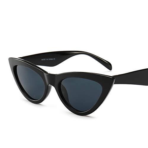 TYJDQXX Cat Eye Sonnenbrille Frauen Triangle Kleine Rahmen Brillen Reb Blau Grün Objektiv SonnenbrilleSchwarz