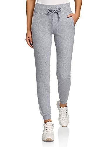 oodji Ultra Damen Sport-Hose mit Bindebändern, Grau, S