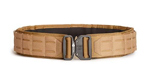 Tacticon Battle Belt | Combat Veteran Owned Company | Adjustable Tactical Belt | Nylon Duty Gun Belt (Flat Dark Earth Tan, L [40' - 46' Waist])