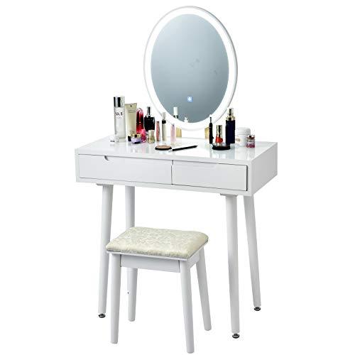 COSTWAY Schminktisch mit 3 Farbenton verstellbarem LED Spiegel, Frisiertisch mit Zwei Schubladen in verschiedenen Größen, Kosmetiktisch mit Hocker (Weiß)