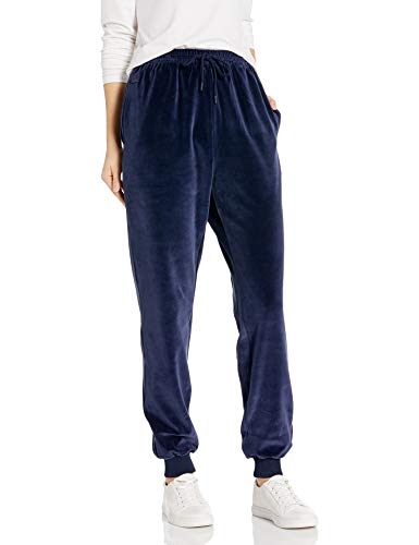 Lacoste Womens Drawstring Terry Cuffed Trousers Casual Pants, Navy Blue, 4