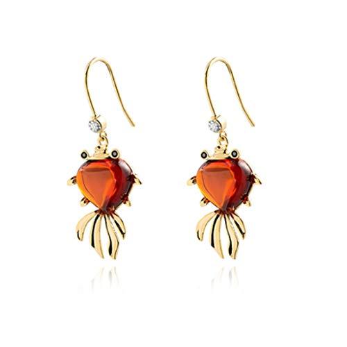 XRHDX Charm de Oro Simple Gancho de Gancho Modelo Temperamento Rojo pequeño pez de Colores Pendientes Femenino Festivo Novia con Vestido de Oreja joyería