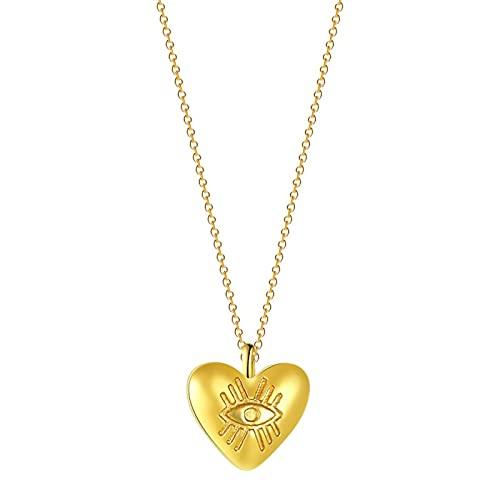YioKpro Collares con Colgante en Forma de corazón de Ojo de Horus Tallado religioso para Mujer, Encanto de corazón de latón Crudo, Regalo de joyería de cumpleaños de Navidad de Moda