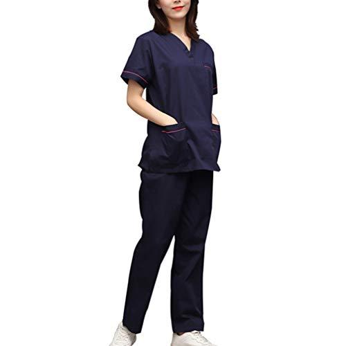 PRETYZOOM Medische Scrubs Set Verpleegkundige Uniform Ziekenhuis Kostuum Scrubs Top en Broek Set Korte Mouw V Hals Kostuum voor Verpleegkundige Salon Doctor Maat S XL marineblauw